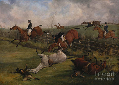 Painting - The Grand Leicestershire Steeplechase, March 12th, 1829 by Henry Thomas Alken