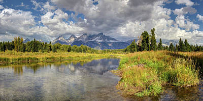 Digital Art - The Grand Tetons National Park Reflections Olena Art Fall Colors Photography by OLena Art Brand