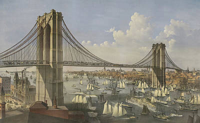 Harbor Drawing - The Great East River Suspension Bridge by Currier and Ives