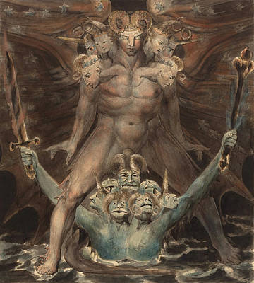 18th Century Painting - The Great Red Dragon And The Beast From The Sea by William Blake