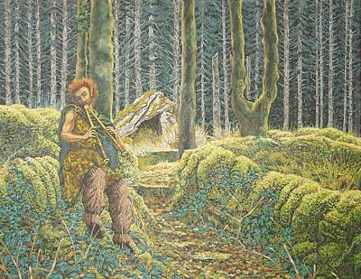 Pan Pipes Painting - The Green Man by Dan Remmel
