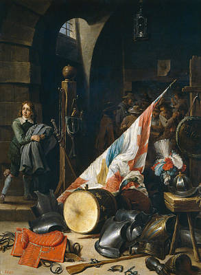 Flag Painting - The Guard-room by David Teniers the Younger