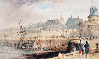 Painting -  The Harbor Of St. Malo At Low Tide by William Callow