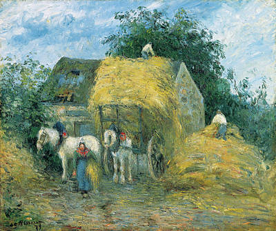 Wheat Painting - The Hay Cart, Montfoucault by Camille Pissarro