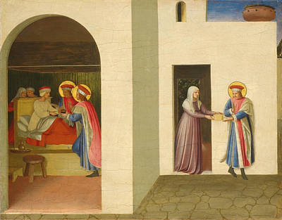 Damian Painting - The Healing Of Palladia By Saint Cosmas And Saint Damian by Fra Angelico