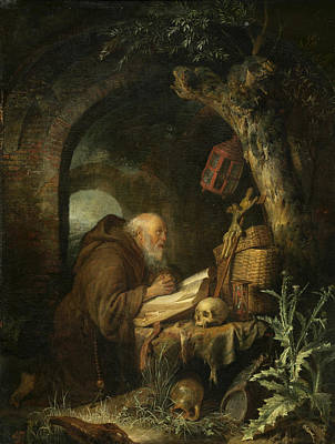 Dow Painting - The Hermit by Gerrit Dou