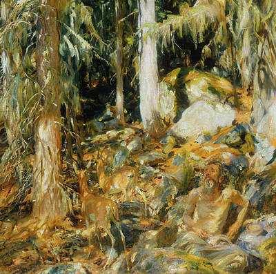 Wildlife Landscape Painting - The Hermit by John Singer Sargent