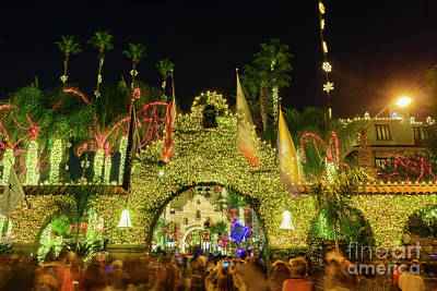 Butterflies Rights Managed Images - The Historical Mission Inn with Christmas lights at night Royalty-Free Image by Chon Kit Leong