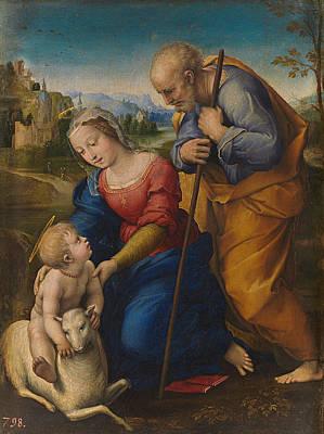 The Holy Family With A Lamb Art Print by Raffaello Sanzio