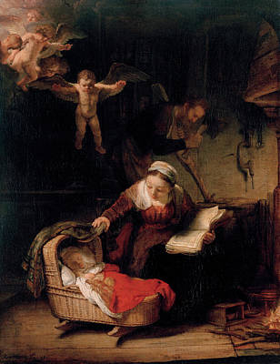 The Holy Family With Angels Art Print by Rembrandt van Rijn