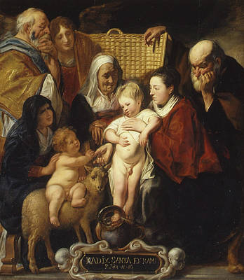 Holy Family Painting - The Holy Family With Saint Anne And The Young Baptist And His Parents by Jacob Jordaens