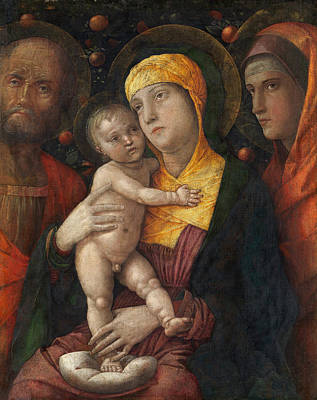 Italian Painting - The Holy Family With Saint Mary Magdalen by Andrea Mantegna