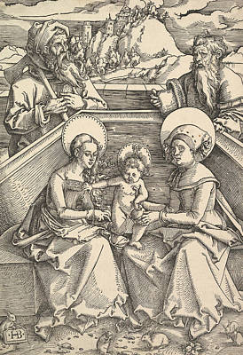 Relief - The Holy Family With St. Anna And St. Joachim by Hans Baldung Grien
