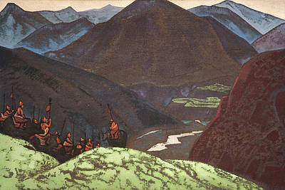 Contemplation Painting - The Host Of Gesar Khan by Nicholas Roerich