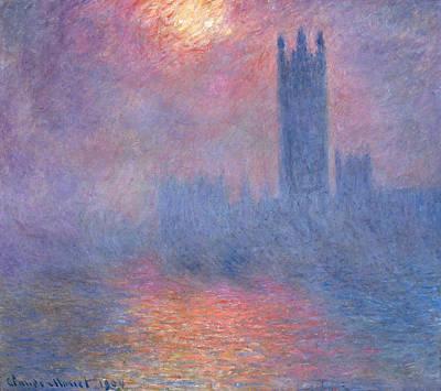 The Houses Of Parliament, Sun Shining Through The Fog Art Print by Claude Monet
