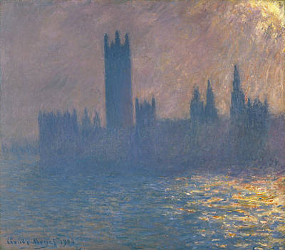 Architectural Painting - The Houses Of Parliament, Sunlight Effect by Claude Monet