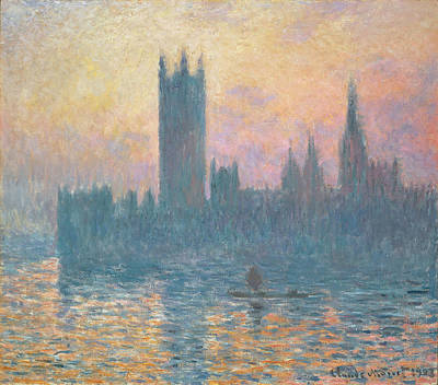 Great Painting - The Houses Of Parliament  Sunset by Claude Monet