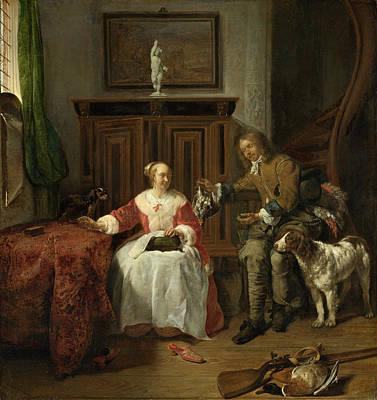 Interior Scene Painting - The Hunter's Present by Gabriel Metsu