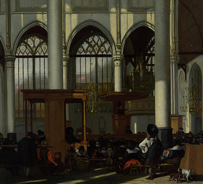 Sermon Painting - The Interior Of The Oude Kerk, Amsterdam by Emanuel de Witte
