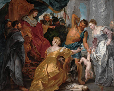 Curtain Painting - The Judgment Of Solomon by Peter Paul Rubens
