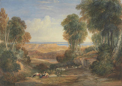 In The Distance Painting - The Junction Of The Severn And The Wye With Chepstow In The Distance by David Cox