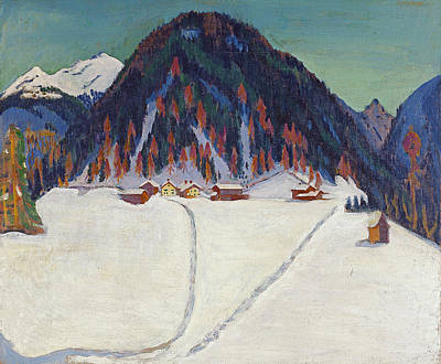 Snowfall Painting - The Junkerboden Under Snow by Ernst Ludwig Kirchner