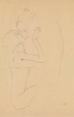 Drawing - The Kiss by Egon Schiele