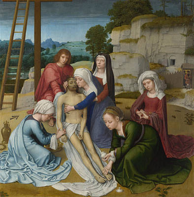 David Painting - The Lamentation Over The Dead Christ by Gerard David