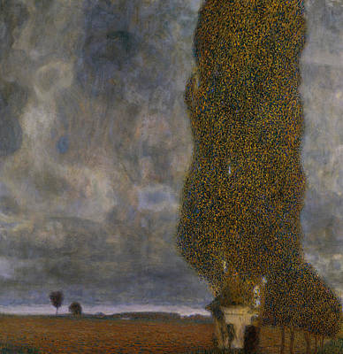 Field Grey Painting - The Large Poplar II Gathering Storm by Gustav Klimt