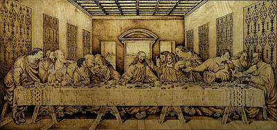 Pyrography On Wood Pyrography - The Last Supper by Tiberiu Doka