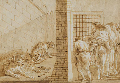 Leopard Drawing - The Leopards' Cage At The Menagerie by Giovanni Domenico Tiepolo