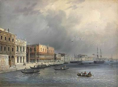 Library Painting - The Library And The Ducal Palace From The Riva Degli Schiavoni by Carlo Grubacs