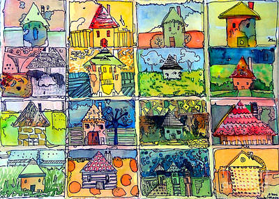 The Little Houses Art Print by Mindy Newman