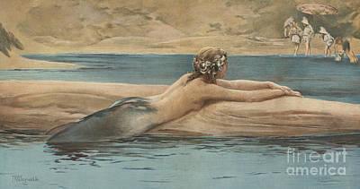 Little Girls Nude Painting - The Little Sea Maid by John Reinhard Weguelin