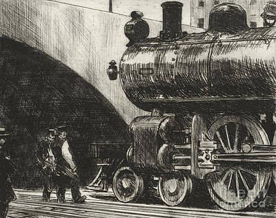 Train Drawing - The Locomotive by Edward Hopper