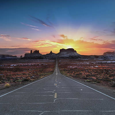 Utah Wall Art - Photograph - The Long Road To Monument Valley by Larry Marshall
