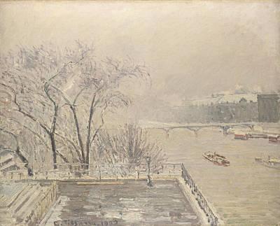The Louvre Under Snow Art Print