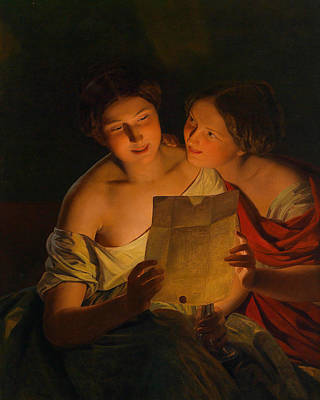 Painting - The Love Letter by Ferdinand Georg Waldmuller