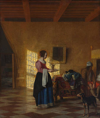 Architectural Painting - The Maidservant by Pieter de Hooch