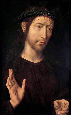 Historical Painting - The Man Of Sorrows Blessing by Hans Memling