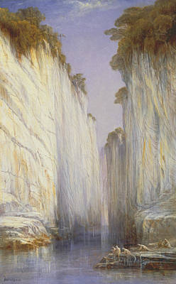Painting - The Marble Rocks - Nerbudda Jubbolpore by Edward Lear