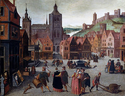 Painting - The Marketplace In Bergen Op Zoom by Attributed to Abel Grimmer