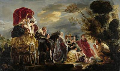 Wagon Painting - The Meeting Of Odysseus And Nausicaa by Jacob Jordaens