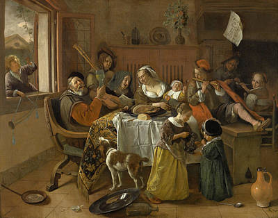 Tobacco Painting - The Merry Family by Jan Steen