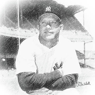 Drawing - Mickey Mantle by Stephen Mitchell