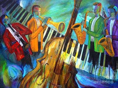 Jazz Painting Royalty Free Images - The Midnight Jazz Sextet Royalty-Free Image by Larry Martin