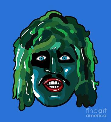 Old Tv Drawing - The Mighty Boosh Tv Series I'm Old Gregg Scaly Man Fish Bbc Comedy by Paul Telling