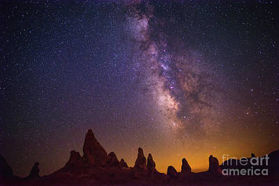 Etherial Photograph - The Milky Way Galaxy Over The Trona Pinnacles In California. by Jamie Pham