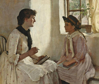Painting - The Morning Lesson by Norman Garstin