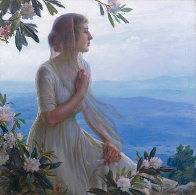 Painting - The Mountain Side Seat  by Charles Courtney Curran